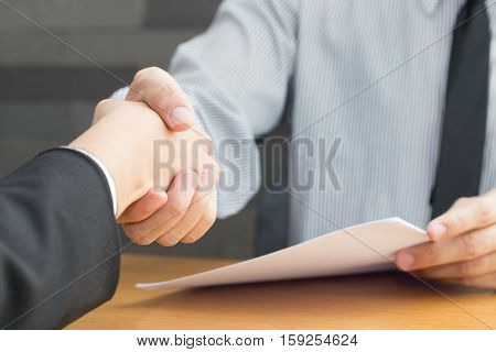 Business handshake agreed to work Job interview concept