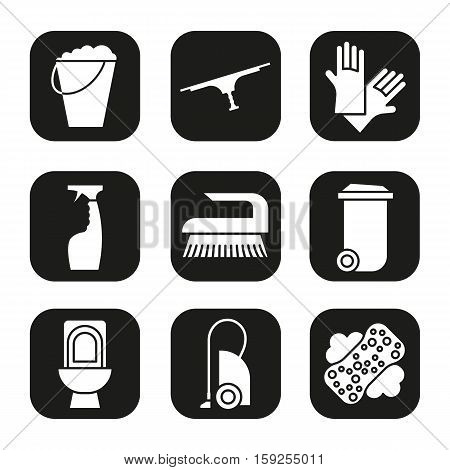 Cleaning items and tools icons set. Trash can, bucket, vacuum cleaner, spray, toilet, brush and rubber gloves. Vector white silhouettes illustrations in black squares.
