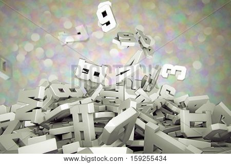 3d illustration of falling letters isolated on glitter background