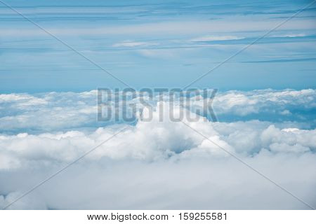 sky and cloud from Airplane Window Seat Travel Background