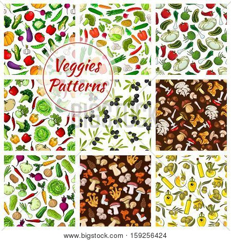Seamless vegetables patterns of cabbage, pumpkin and cauliflower, garlic, potato and corn, tomato and pepper, broccoli. Mushrooms champignon and chanterelle, morel, cep and amanita. Vector seamless background