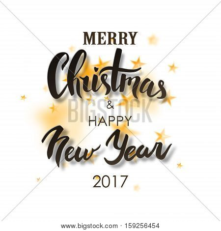 Merry Christmas & Happy New Year lettering. Black text isolated on white background with blurres stars. Christmas handwritten typography for card, poster, flyer, postcard.
