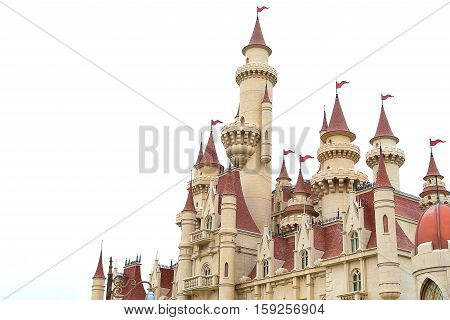 Close up castle on white background in singapore