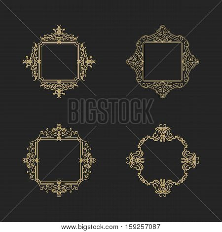 Rosette wicker border collection in vector. Yellow vintage text, certificate and page decoration in advertising. Business flourish signs for classic logo. Motifs frames and ornate elements.
