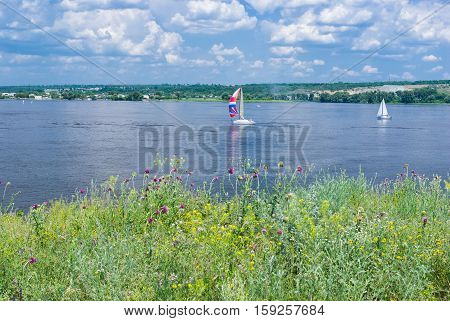 Summer landscape with sailers on a Dnepr river