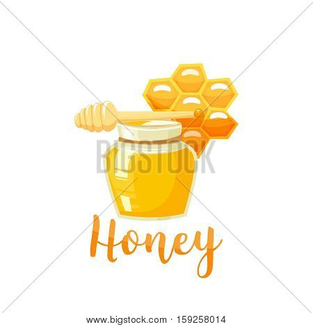 Honey bank and stick vector illustrations. Apiary vector symbol. Honey, bee product, honeycomb. Natural healthy food product vector illustration