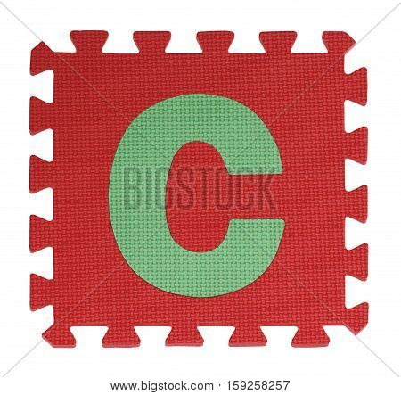 C Text Jigsaw On White Background , Interlocking Eva Foam, Clipping Path