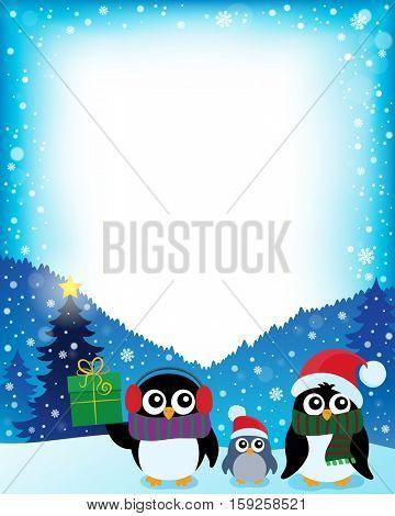 Frame with stylized Christmas penguins 2 - eps10 vector illustration.