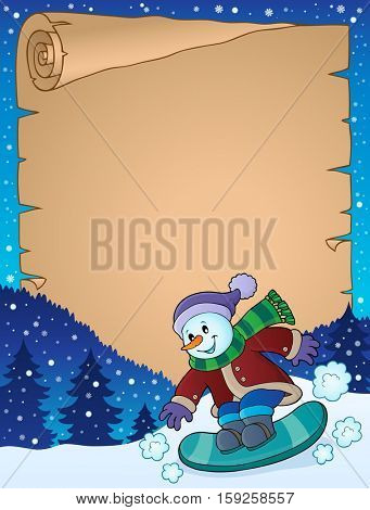 Parchment with snowman on snowboard - eps10 vector illustration.