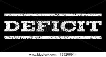 Deficit watermark stamp. Text tag between horizontal parallel lines with grunge design style. Rubber seal white stamp with dust texture. Vector ink imprint on a black background.
