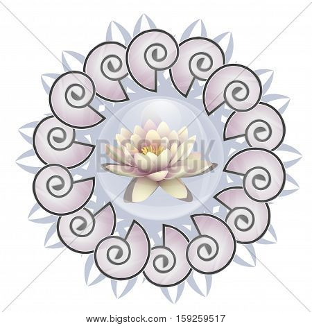 Logo lotus in a bubble. Lily flower in a drop of water on a background pattern mandala. Line length of Buddhism, yoga and spa salon. Vector illustration - mandala made of shells