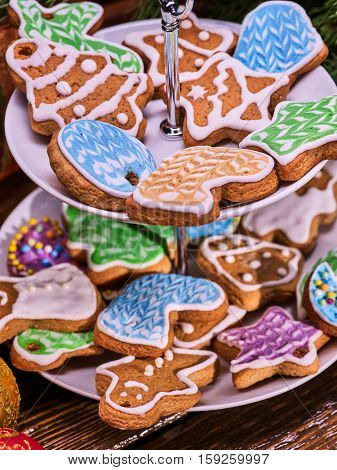 Christmas gingerbread cookies on Tiered Cookie Stand.