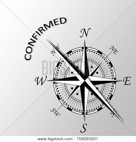 Illustration of confirmed word written aside compass