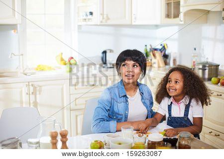 Watching TV in kitchen