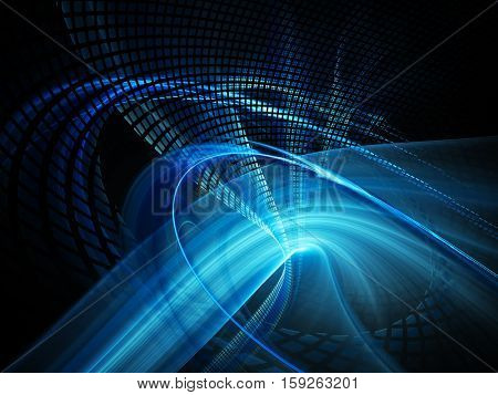 Abstract background element. Fractal graphics series. Three-dimensional composition of twisted grids and motion blur. Information technology concept. Blue and black colors.