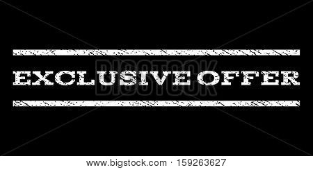 Exclusive Offer watermark stamp. Text caption between horizontal parallel lines with grunge design style. Rubber seal white stamp with unclean texture. Vector ink imprint on a black background.