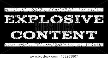 Explosive Content watermark stamp. Text caption between horizontal parallel lines with grunge design style. Rubber seal white stamp with dirty texture. Vector ink imprint on a black background.