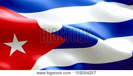 Waving Fabric Texture Of The Flag Of Cuba, Real Texture Color Red Blue And White Of Cuban Flag