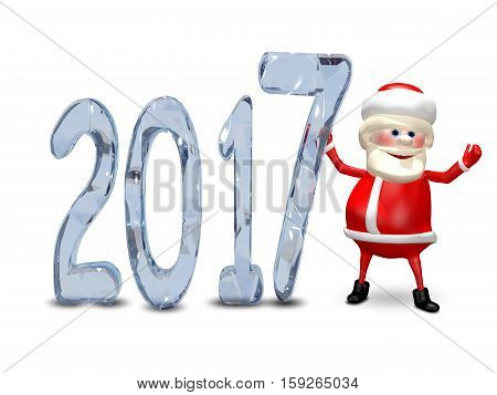 3D Illustration of Santa Claus and the Blue Ice Figures 2017