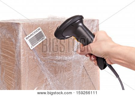 Scanning boxes with barcode scanner , isolated on white background.
