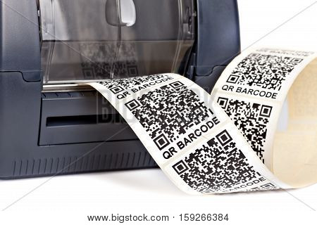 Barcode label printer isolated on white background. Dummy barcode contains text