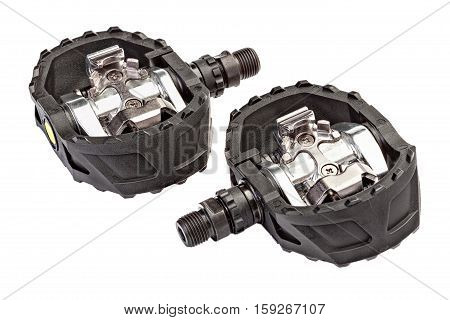 Mountain bike contact pedal isolated on white background.