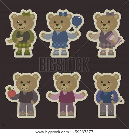 Vector Illustrations cartoon teddy bear. Set of stickers with bears.