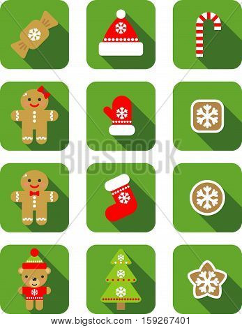 Christmas vector flat illustration isolated on green background for web design