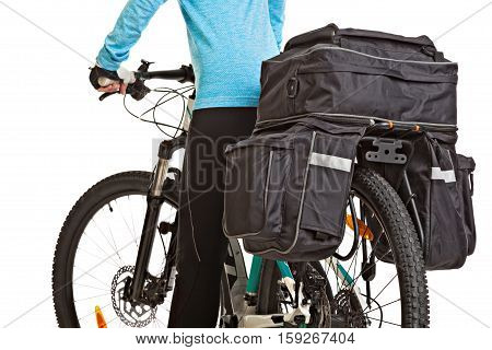 Female mtb cyclist with saddlebag isolated on white background. Studio shot. Rear view.