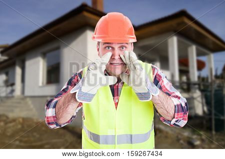 Constructor On Construction Site Screaming Something