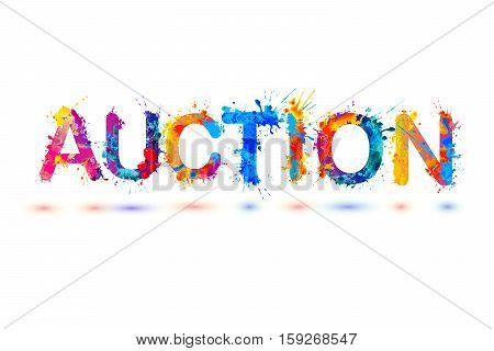 Auction. Splash vector watercolor rainbow pain sign