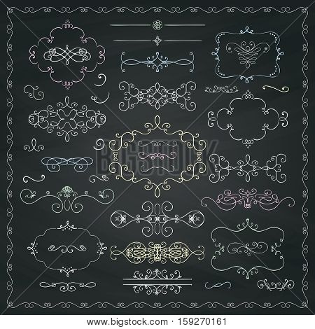 Chalk Drawing Hand Drawn Sketched Decorative Doodle Design Elements. Frames, Text Frames, Dividers, Swirls, Borders, Banners on Chalkboard Background Texture. Vector Illustration