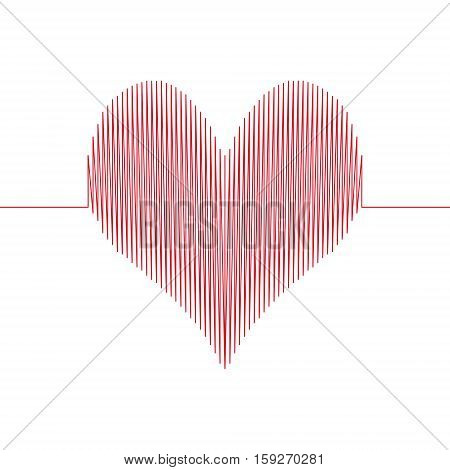 love wave heart, a heart drawn with a wavy line, love the diagram with sharp corners, vector concept