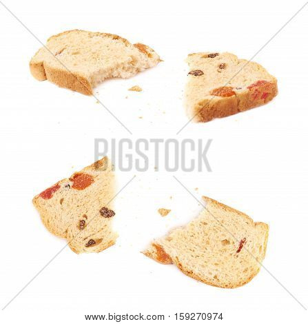 Broken into pieces rusk isolated over the white background