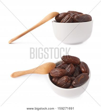 Pile of date fruits in bowl with wooden spoon over white isolated background surface