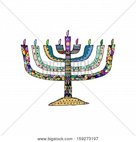 Hanukkah. Jewish religious holiday. Chanukah candle colorful. Multi-colored stained. Doodle, zentangl, hand draw sketch Vector illustration on isolated background.