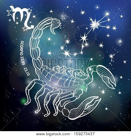 Scorpio  Zodiac sign. Horoscope constellation, stars.Abstract space dark sky blurred background with dots stars, shiny bokeh.Vector science background.Symbol, Astrology Illustration, Scorpio silhouette