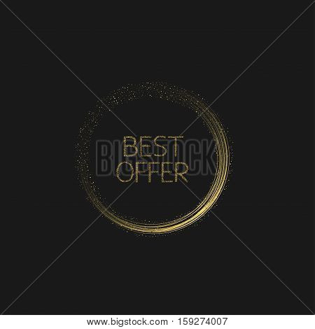 Best offer label. Abstract golden stars, magic sparcles circle
