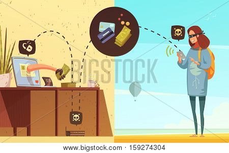 Young lady criminal internet security hacker with smartphone getting bank card access retro cartoon poster vector illustration