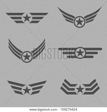 Wings with star label set. Winged logo company, delivery and shipping symbols