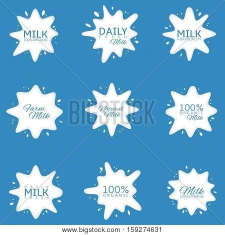 Milk Logo set. Fresh daily milk labels, white icons on blue background