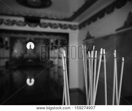 JOSS STICKS (group of joss sticks at buddhist temple)