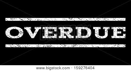 Overdue watermark stamp. Text caption between horizontal parallel lines with grunge design style. Rubber seal white stamp with unclean texture. Vector ink imprint on a black background.