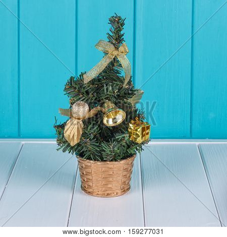 Small Christmas tree. Against the background of the blue fence