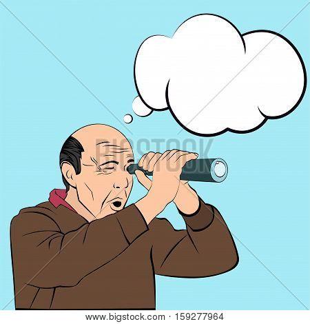 Bald man spying, peeping through a telescope. Illustration in pop-art style