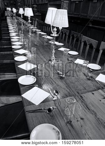 Oxford, UK, May, 30 2010 :  Black and white image of the Great Dining Hall of  Christ Church   College Oxford University which has been used in several films and is a popular visitors attraction