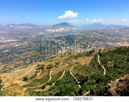Aerial view of the Erice, Sicily, Italy