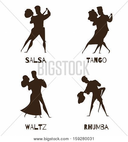 Classical partner retro dance 4 black cartoon icons collection with waltz tango and salsa isolated vector illustration