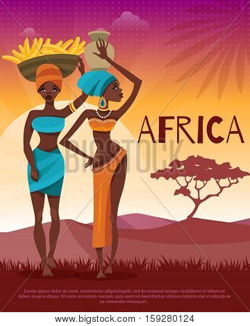 African cultural and ethnic clothing customs traditions flat poster with women headwrap and naturel background vector illustration