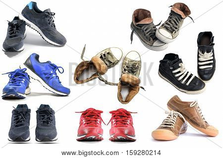 Group of running sneaker shoes and fashion shoes isolated on white background.